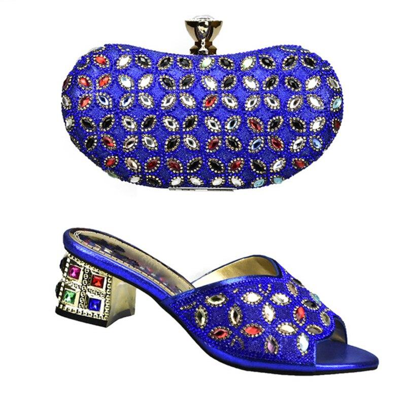 Royal Sac Chaussures Correspondant Et Africain Ensemble rouge or bleu Femmes Décoré Strass Italiennes pourpre Bleu argent Avec Nigérian Noir dqXBwt