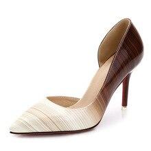 16ฤดูใบไม้ผลิเซ็กซี่ส้นรองเท้าผู้หญิงปั๊มขนาดบวกบางส้นเข็มตื้นเปิดเดียวหนังเลดี้รองเท้าแต่งงานZK35