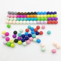 (100 pieces/lot)BPA Free 100% Food Silicone Beads for baby chews,15MM Silicone teething beads for DIY Beads