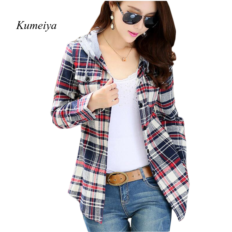 Female Fashion Casual Hoodie Long Sleeve Red Flannel Plaid   Blouses     Shirt   Print Women Blusas Feminina Spring Tops 2019 Outerwear