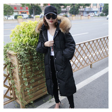 Fluffy Color Raccoon Fur Large Fur Collar Long hooded Winter women's down jacket Thickened Waist Slim Fit Women's Winter Coat black fur hooded lace up thickened padded coat