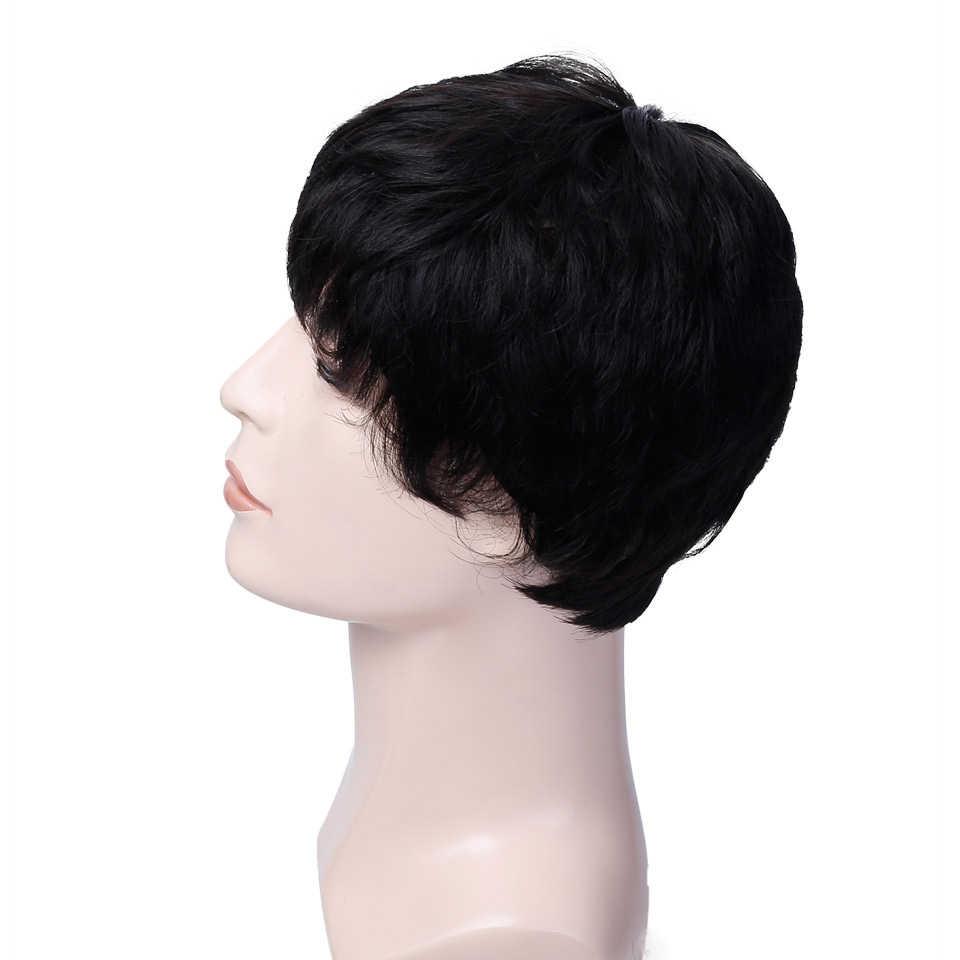 AOSIWIG Männer Kurze Gerade Haar Perücken Synthetische Wärme Beständig Faser Natürliche Schwarz 3 Farben Cosplay Perücken