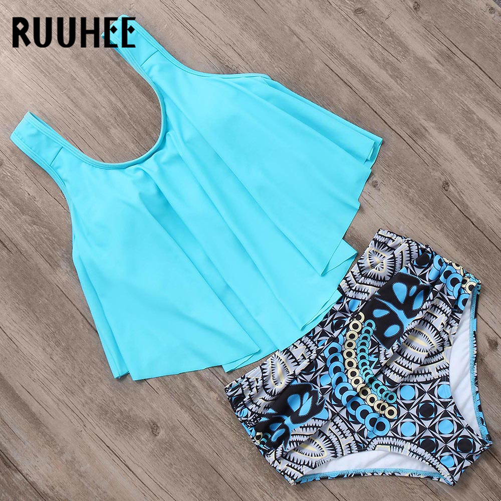 RUUHEE Bikini 2019 Swimsuit Swimwear Women High Waist Tankini Bikini Set Push Up Bathing Suit Women Beachwear Plus Size Swimwear