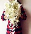 Водопад Букет Невесты Искусственный Поддельные Розы Лилии Глицинии Лозы Свадебные Подружки Невесты Букеты Настроить Цвета Принято