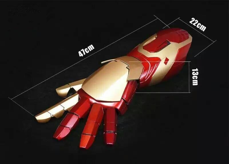 Film Figure Iron Man MK43 1/1 Cosplay Mobile Portable Bras gant avec Lancement Son Laser Arme LED ABS Action Figure jouets