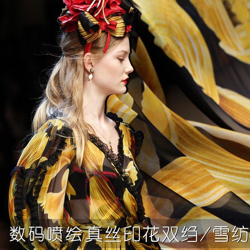 new fashion catwalk printing silk fabric kitchen interesting high silk fabric silk chiffon silk double crepe two optional