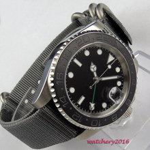 цена 2019 Newest 40mm parnis Black sterile dial Nylon strap Date Sapphire Glass Luminous Marks GMT Automatic mechanical men's Watches онлайн в 2017 году