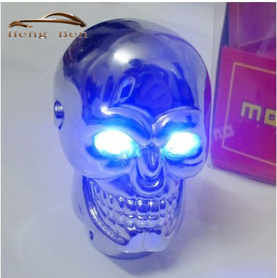 HB Universal Skull Gear Shift Knob for Manual Gear Skeleton head with Red and Blue LED