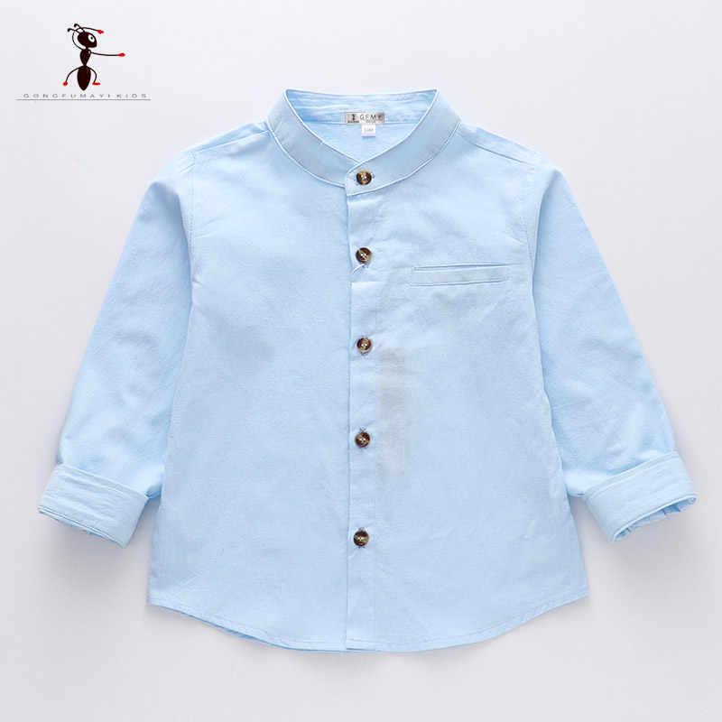 Kung Fu Ant/2019 г. Весенняя однотонная Повседневная рубашка из 100% хлопка с круглым воротником для мальчиков школьная рубашка с длинными рукавами для маленьких мальчиков, 24 мес.