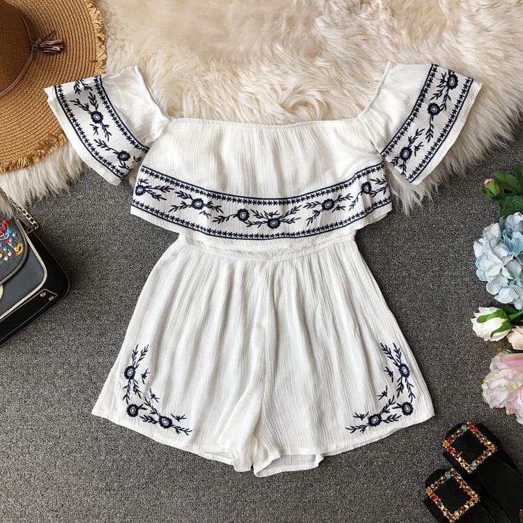 NiceMix Ruffles 2019 Off Shoulder Embroidery Jumpsuit Casual Sexy Women Bohemian Short Summer Playsuit Ethnic Beach Holiday Romp 3