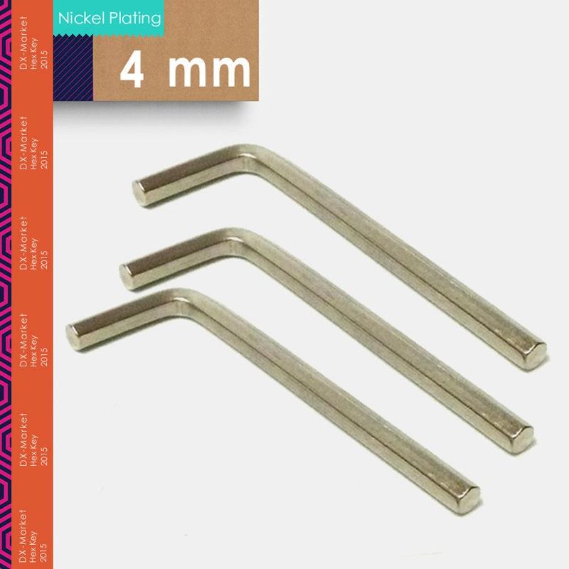 4mm, 20pcs / lot, clé hexagonale de 4 mm, clé Allen 45 # outils en acier, clé de bricolage pour le placage au nickel m4, fabricant de fixations en Chine
