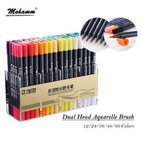 STA 12 Colors Set Artist Brush Sketch Marker Pens Water Based Ink Twin Tip Marker Pen