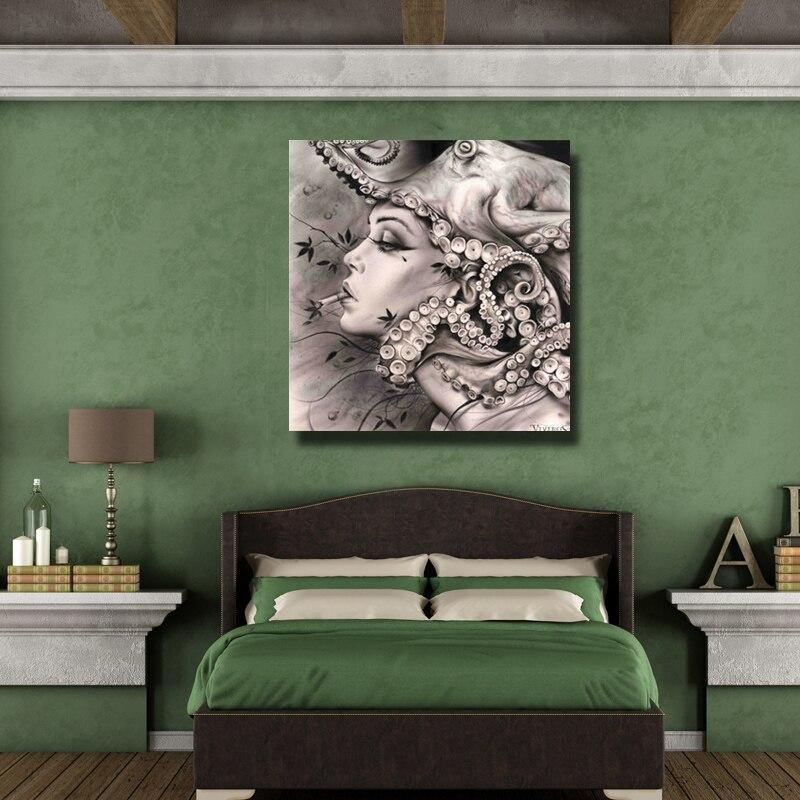 Pinsel Moderne Rauchen Mädchen Kunst Bild handarbeit Ölgemälde Dekoration Wandkunst Leinwand Malerei Setzt Kein feld - 6