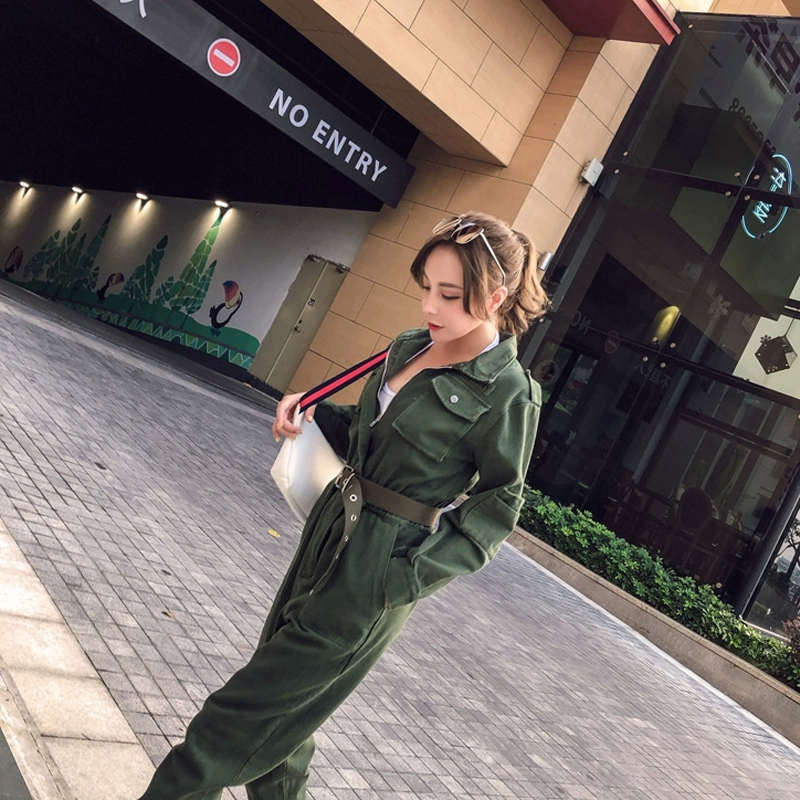 Pocket Tooling Jumpsuit Women Spring Autumn Army Green Multi Pockets Loose Chic Long Sleeve Casual Nine Pants Jumpsuits DS50363