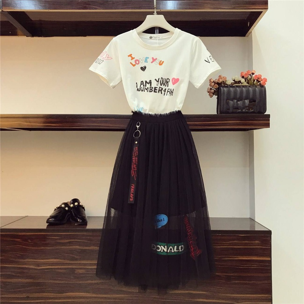 HAMALIEL New 2019 Summer Women's 2 PCS Set Fashion Student Letter Graffiti Print Letter T-shirt + Elastic Waist Mesh Skirt Suits