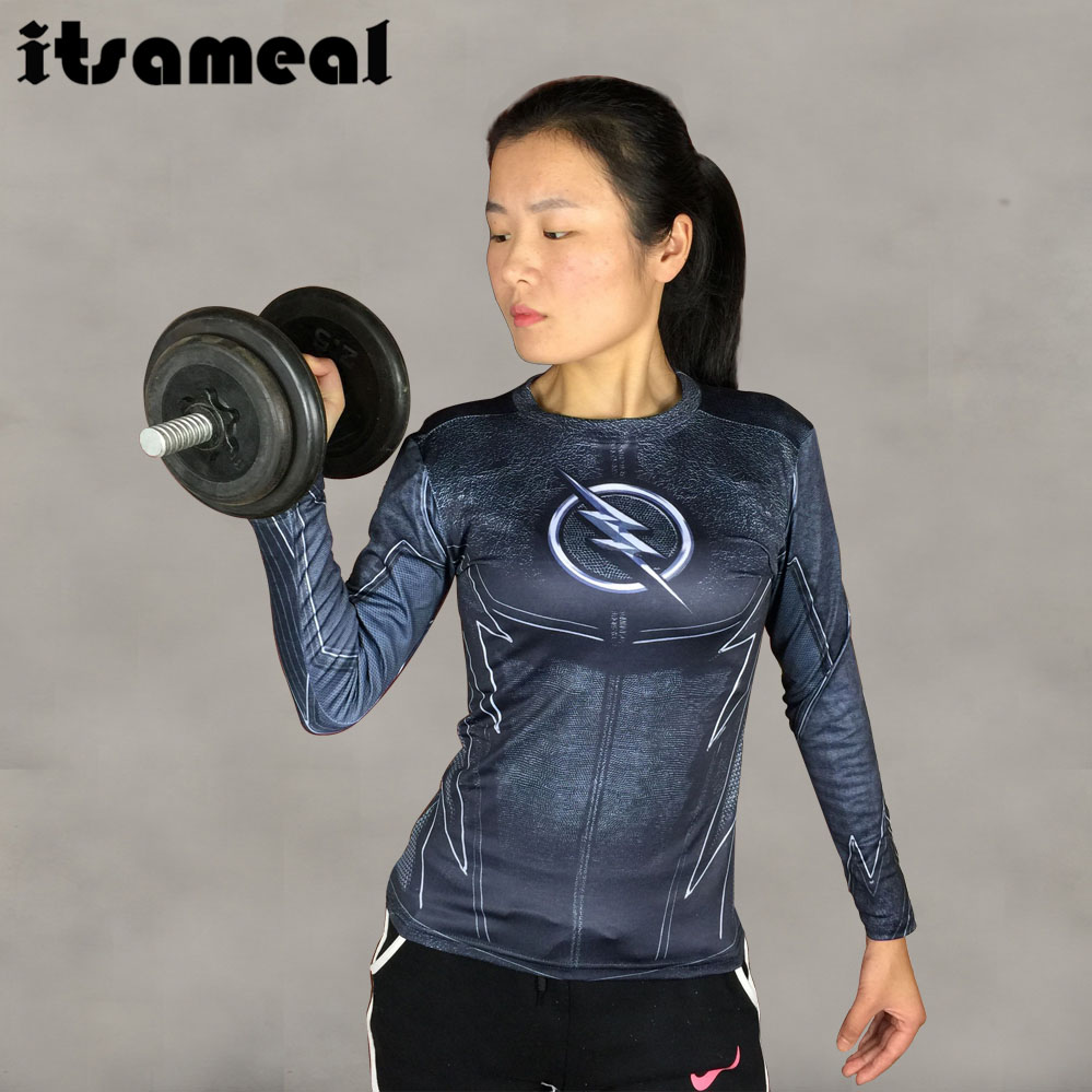 ZOOM 3D Printed T Shirt Women Compression Shirt Ladies Raglan Long Sleeve Flash Cosplay Costume Fitness Slim Tops Female Clothes