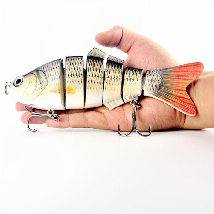 110g Lifelike Fishing Lure beat Woblery Hard Bait Lure Carp Rybářské potřeby s výškovými háčky 6 segmentů 20cm Simulace barev