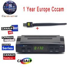 Cccam cline For 1 Year Freesat V7 HD DVB-S2 Satellite Receiver Support PowerVu Biss Key Ccam + 1PC Usb Wifi Europa Cccam Server