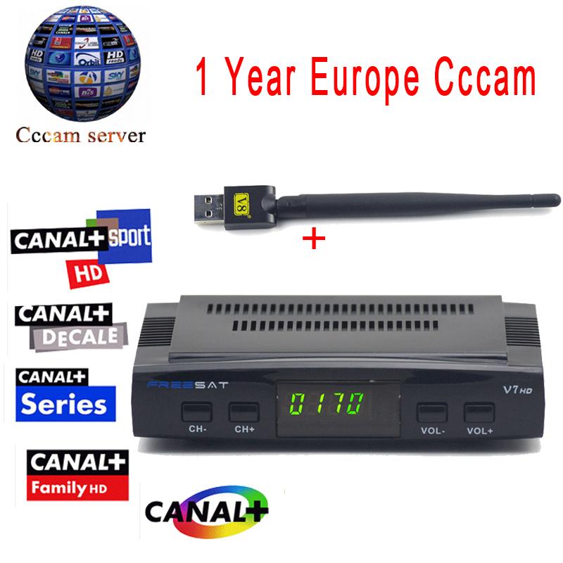 Prix pour Cccam cline Pour 1 Année Freesat V7 HD DVB-S2 Récepteur Satellite soutien PowerVu Biss Key Ccam + 1 PC Usb Wifi Europa Cccam serveur