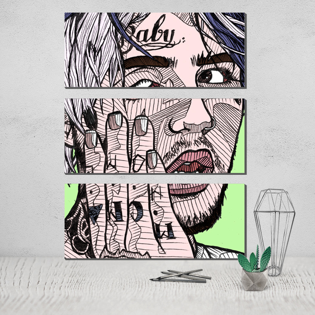 The Triptych Lil Peep 3 Panel Wall Art Photo Canvas Poster Canvas ...