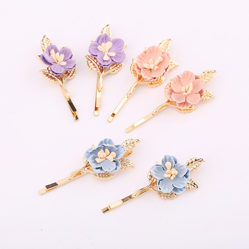 LNRRABC 1PC Korean Flower Girl Hair Clip Sweet Cute Hair Ornaments Hairpin Headdress Clip Folder