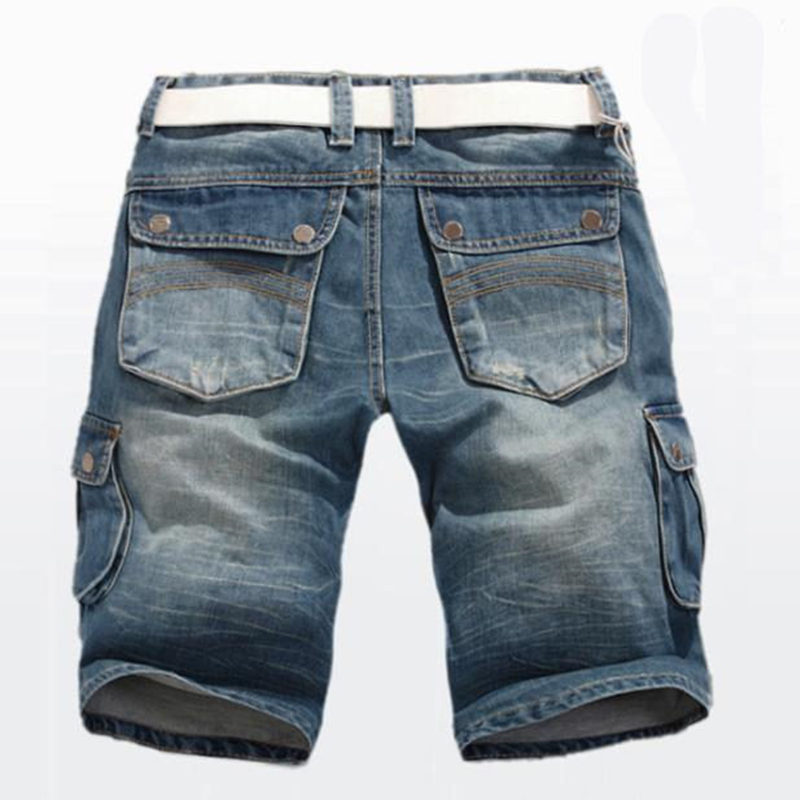 Summer Jeans Shorts New Men's Denim Shorts Straight Multi-pocket Baggy Cargo Trousers Men Cowboy Bottoms Plus Size 40