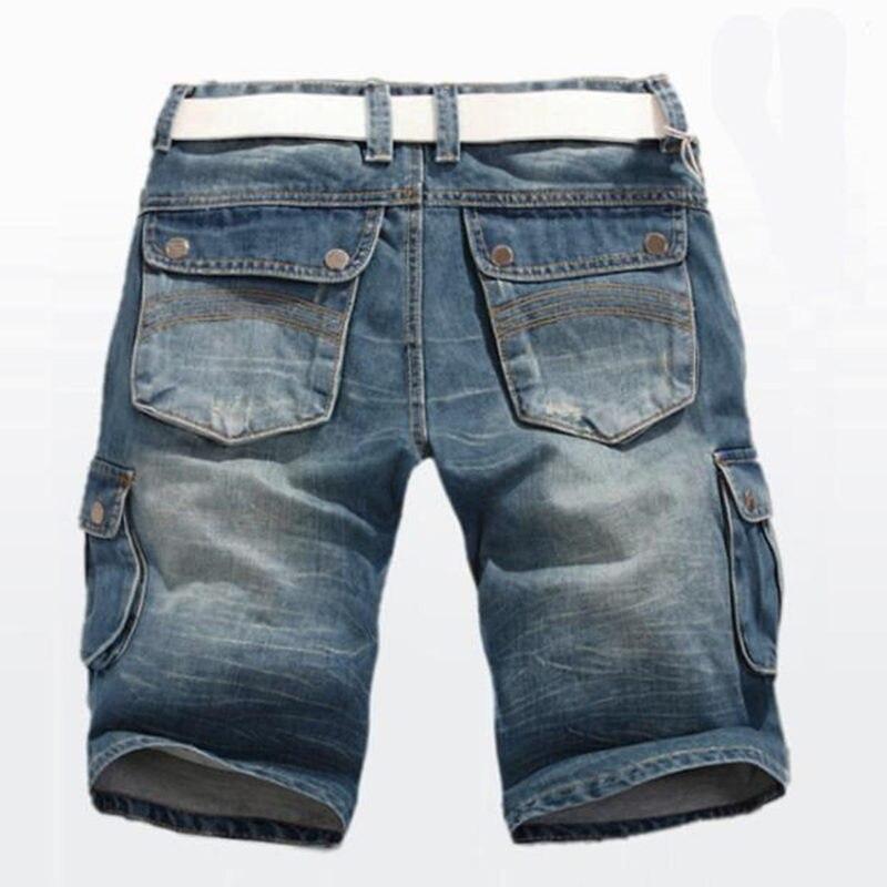 Summer Jeans Shorts New Men's Denim Shorts Straight Multi-pocket Baggy Cargo Trousers Men Cowboy Bottoms Plus Size 40