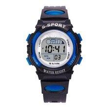 Водонепроницаемый для мальчиков цифровой светодиодный спортивные часы Дети сигнализации Дата Смотреть подарок свободного падения Montre Homme Часы нержавеющая сталь au4