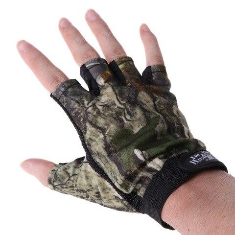 5 corte dedo anti deslizamento verde camuflar pesca luvas esportes ao ar livre da qualidade