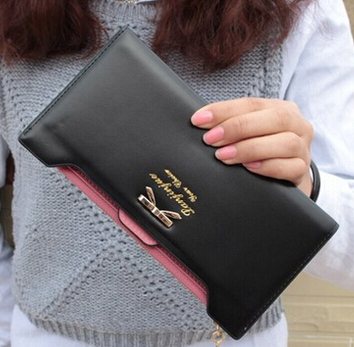 2017 New Fashion Women Wallets Bow solid PU Leather Zipper hasp Wallet Women's Long  Purse More Color Clutch