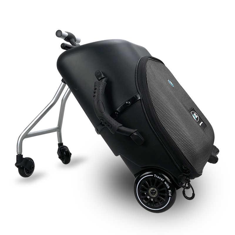 Новый творческий carry on Чемодан Дети ребенок сидеть на скутер для мужчин женщин чехол для чемодана ленивый тележка случае