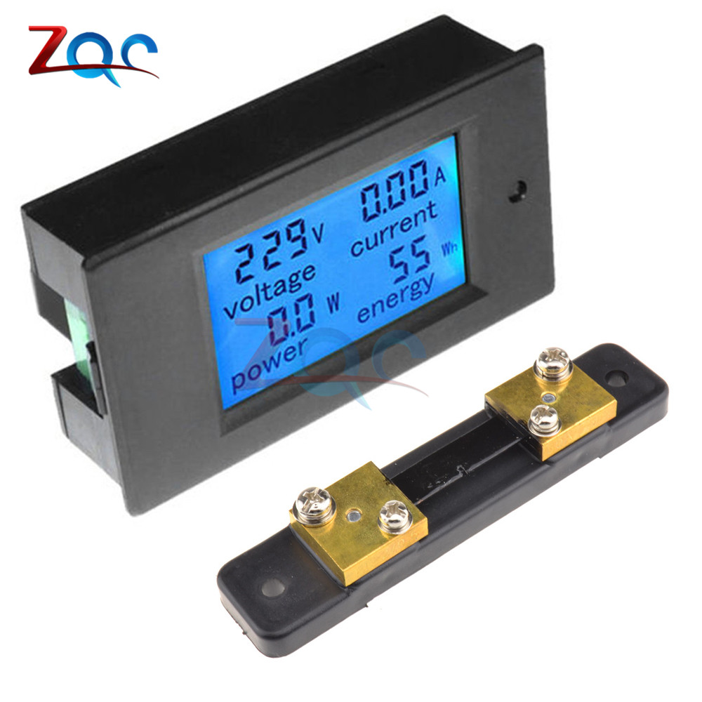 DC 6.5-100v 50A LCD Combo Ammeter Voltmeter Meter Volt Voltage Current KWh Watt Panel Meter 6.5V 100V 12V 24V 48V With 50A Shunt hote sale dc 0 50a dc 0 1000v dc voltage and ampere meter with current shunt 96 48mm dc volt