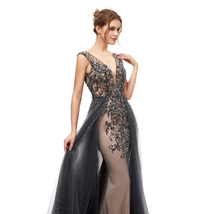 Image 4 - New Elegant Evening Dresses Long A Line Backless Tulle Floor Length Dubai Formal Party Gown Lace Applique Robe De Soiree WT5406