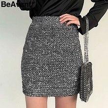 BeAvant Shiny sequined pencil skirts womens Sexy party club bodycon skirt  female Knitting high waist winter skirt autumn 2018 c1fcbe80e219