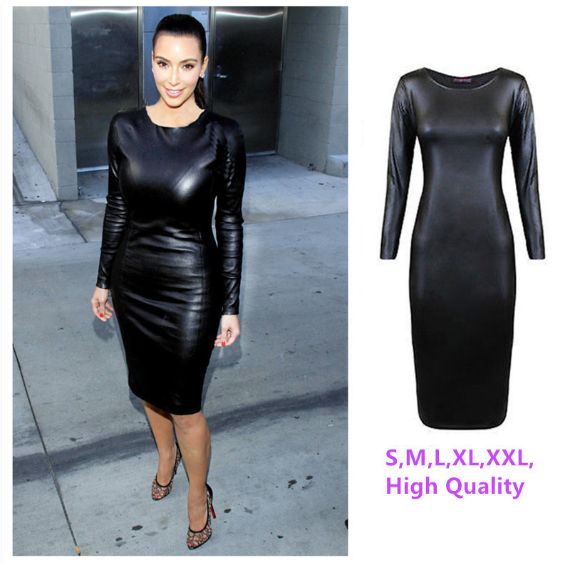 Online Get Cheap Long Sleeve Faux Leather Dress -Aliexpress.com ...