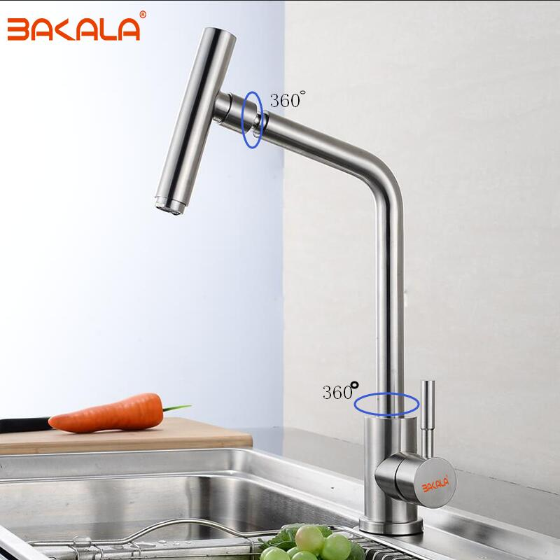BAKALA High End 304 Stainless Steel Rotary Kitchen Faucet Hot And Cold Lead Free Drawing Wash Basin Sink 360 Swivel Mixer super high quality 304 stainless steel hot and cold no lead brushed basin safe sink kitchen faucet with german technology