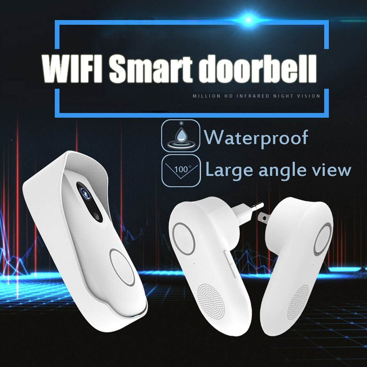 Waterproof Recording Doorbell Wifi RF TransmissionWireless Smart Door Bell Phone Burglar Alarm Night Vison Doorbell