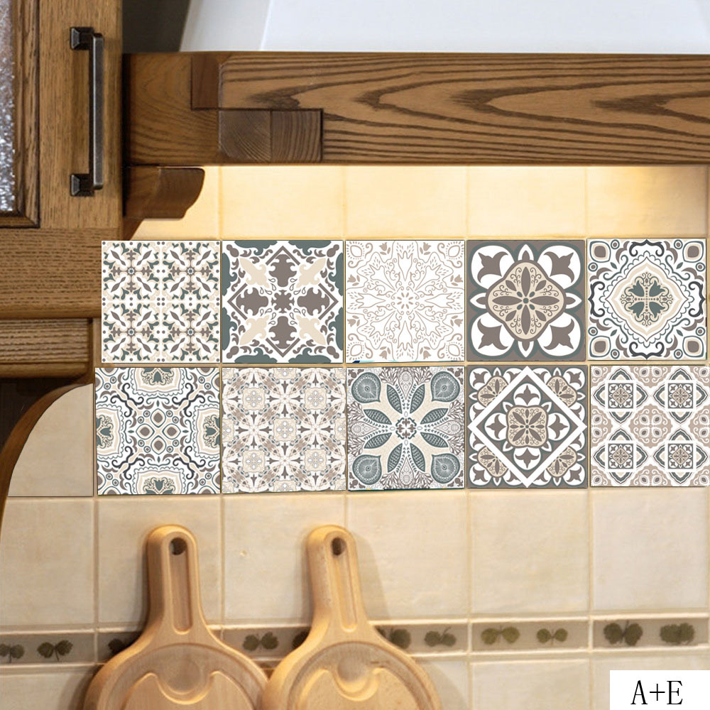 retro kitchen tile stickers european style retro pattern tile floor sticker pvc 4821