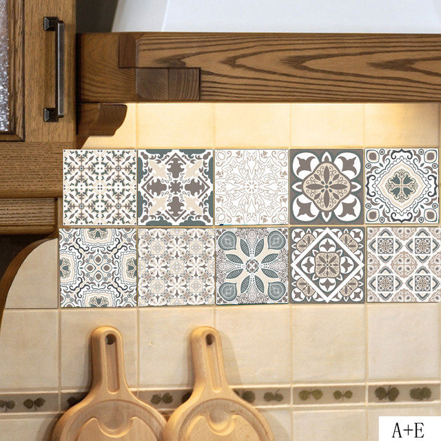 European Style Retro Pattern Tile Floor Sticker Pvc Thicker
