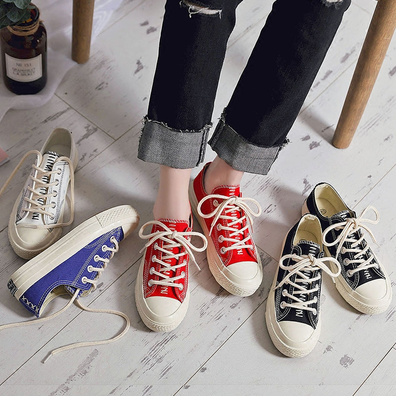M.GENERAL Women Shoes for Spring 2018 New Solid Color Female Casual Shoes Black Blue Red White Sneakers Lady Flats Lace Up 35-40 rizabina concise women sneakers lady white shoes female butterfly cross strap flats shoes embroidery women footwear size 36 40