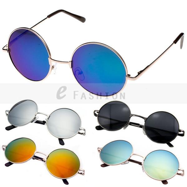 Free Shipping! Hot Fashion New Goggles Fashion Women Summer Shade Round Style Multicoloured Mirror UV400 Sunglasses 120-0011
