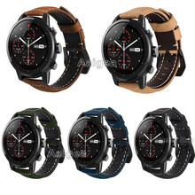 Fashion Leather Watch Band Strap for Xiaomi Huami Amazfit Strato Sports Watch 2 Classic Black Buckle Replacement wristband strap