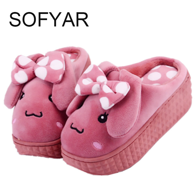 new winter high-heeled platform cotton slippers Lovely bowknot sponge bottom indoor antiskid slippers home shoes sweet dog furry шлепанцы souls шлепанцы