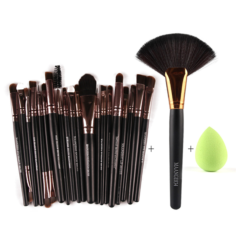 22pcs Makeup Brushes Set Pro Foundation Powder Blush Brush Eyeliner Eyebrow Eyelash Lips Contour brushes&Cosmetic Sponge Puff 8pcs rose gold makeup brushes eye shadow powder blush foundation brush 2pc sponge puff make up brushes pincel maquiagem cosmetic