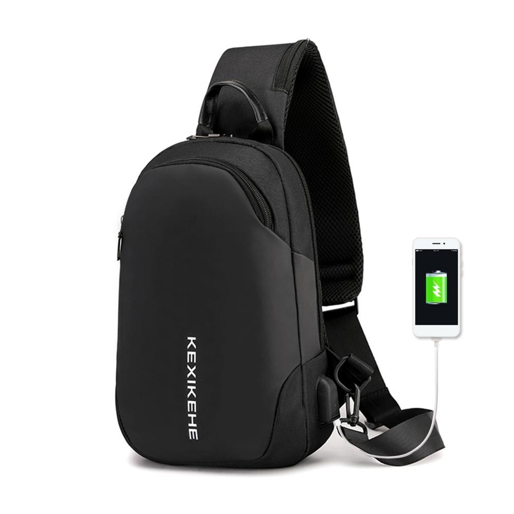 USB Port Anti-thief Crossbody Bag Multi-functional Large Capacity Waterproof Men Sling Waist Packs Shoulder Chest Bags Mochila