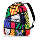 Free Shipping 2017 Hot Sale Graffiti Printed Satin & PU Backpack Rope Bag Embroidered with Multi Colored Print Backpack Female