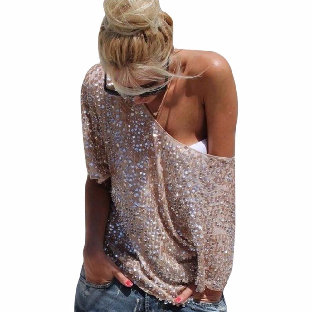 Fashion Women Casual Slim Sequin Blouse Women Short Sleeve Shirts Casual Tops