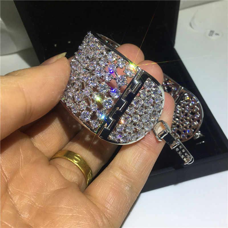 Choucong luksusowe Hollow bransoletka mankiet białe złoto wypełnione AAAAA cyrkon kamień srebrny kolor bransoletki bransoletki dla kobiet bridal bijoux