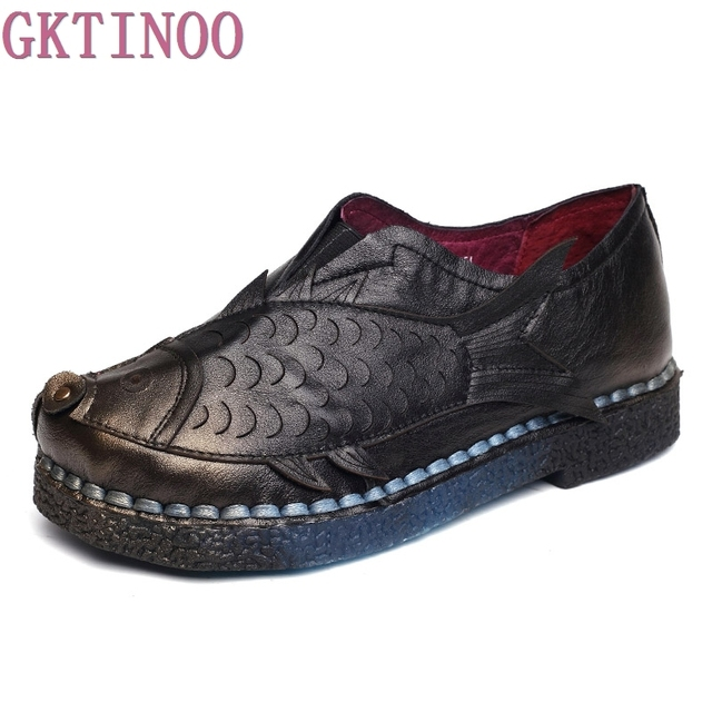 Personality Carp Decoration Handmade Vintage Women's shoes Genuine Leather Female Moccasins Soft Outsole Comfortable Shoes Flats
