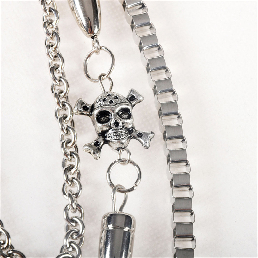 Biker Wallet Chains Bullet Skull Bicycle Key Chain Belt Rock Punk Stainless Steel Motorcyle HipHop Pant Jean Chain Men Jewelry